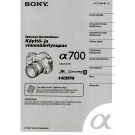 Sony a700 - Käyttöohje